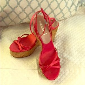 Prada bright pink wedge sandals